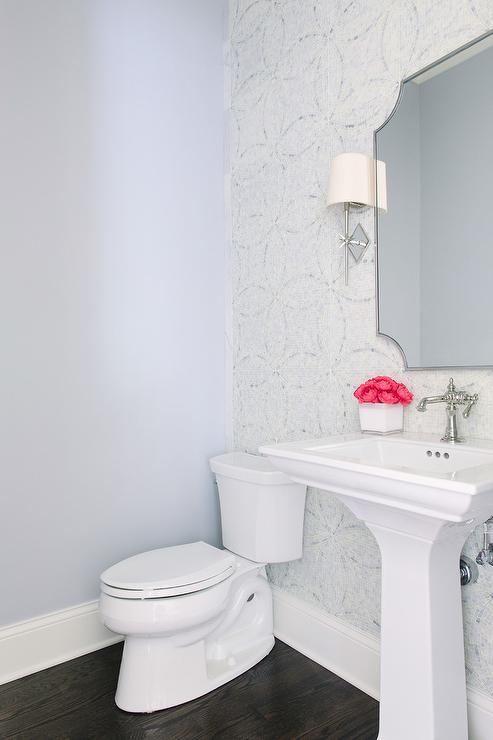 Gray Powder Room With Charcoal Gray Subway Tiles