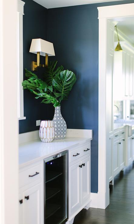 Dark Blue Kitchen Pantry With White Cabinets Transitional Kitchen