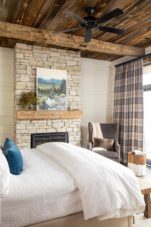 Rustic Cabin Bedroom with Gray Plaid Curtains  Country