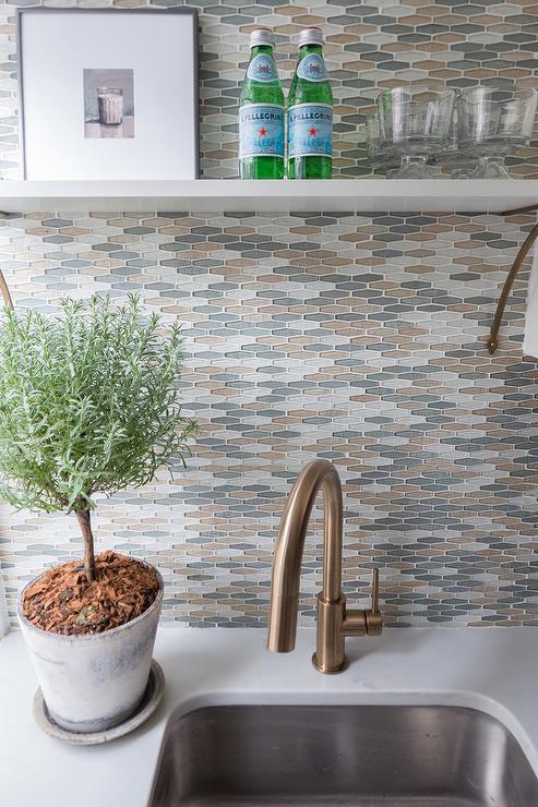 glass subway tile kitchen backsplash 8 island gold and gray tiles design ideas