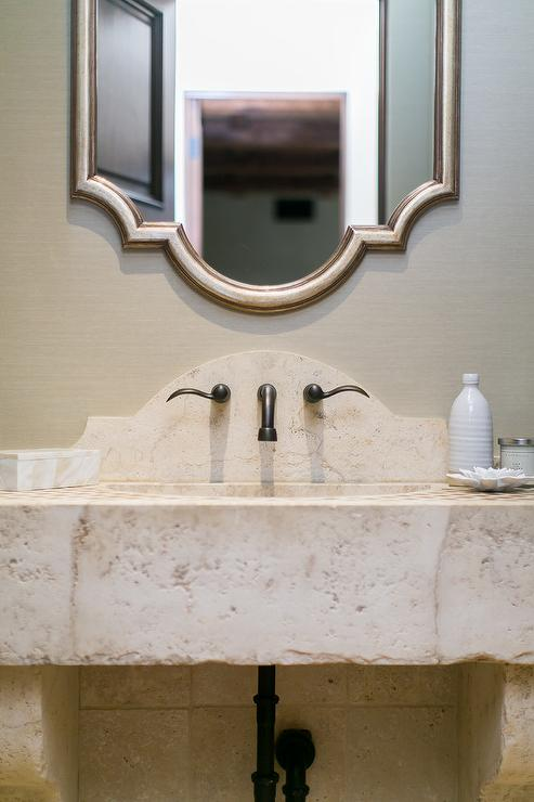 Rustic Stone Sink Vanity with Silver Leaf Mirror  Transitional  Bathroom