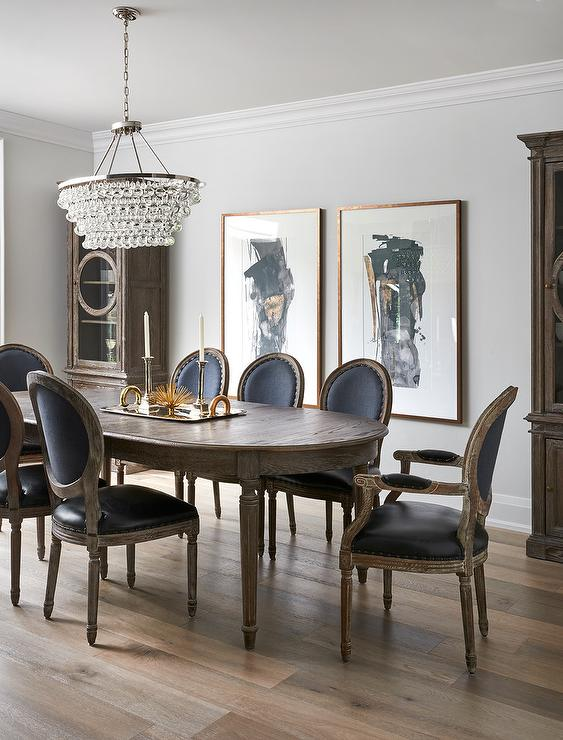 hang a round chair plastic seat covers dining room chairs oval french table with black leather back - transitional