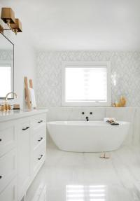 Turquoise Blue Cement Tiles with Light Gray Bath Vanity ...