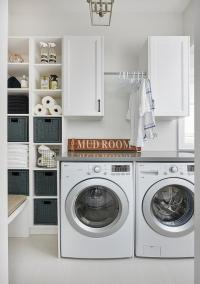 Laundry Room Shelf with Drying Rack - Transitional ...