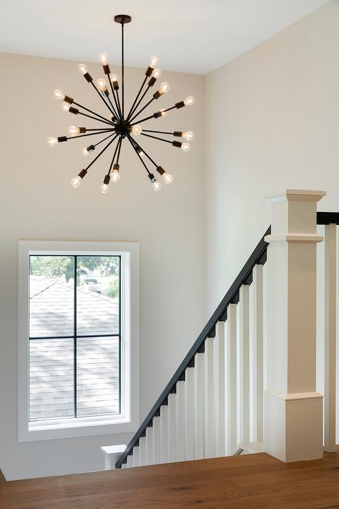 Stair Wall Art Oil Rubbed Bronze Sputnik Chandelier In Staircase