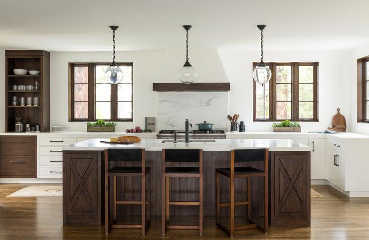 Two-tone Oak Kitchen Cabinets Dark Wood Mediterranean Style Island With 3 Glass Light