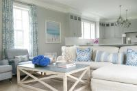 Cottage Living Room with Gray Slipcovered Sofas ...