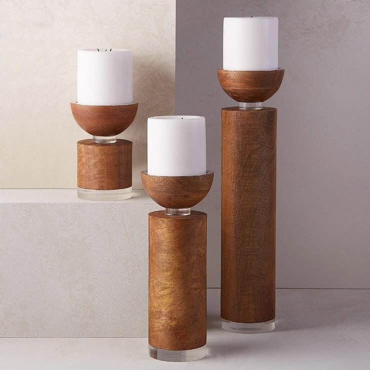Western Decor Rustic Wood Sugar Mold Candle Holder