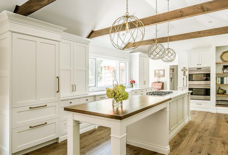 Wood Breakfast Island Countertop  Transitional  Kitchen