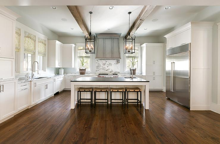 U Shaped KItchen with Wood Ceiling Beams  Transitional