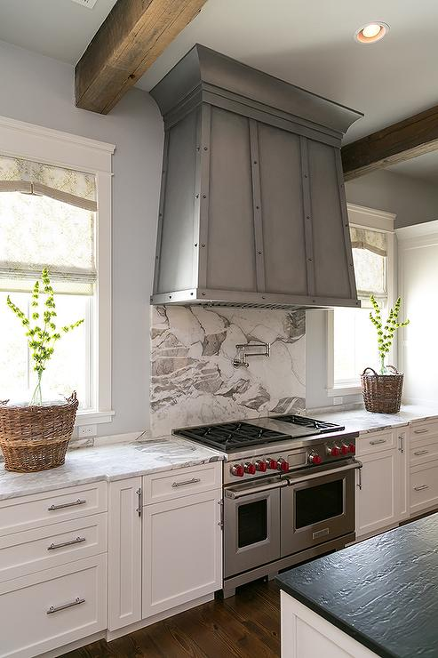 hood kitchen sinks for 30 inch base cabinet u shaped with wood ceiling beams - transitional ...