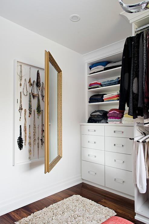 Hidden Jewelry Cabinet Behind Mirror  Transitional  Closet