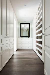 White Closet Dresser with Black Mirror - Transitional - Closet