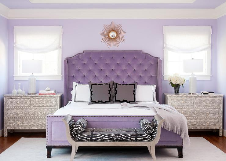 purple french velvet tufted bed with
