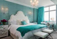 Turquoise Blue Bedroom with White Mirror Nightstands