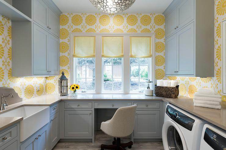 Yellow and Gray Laundry Room with Desk  Transitional