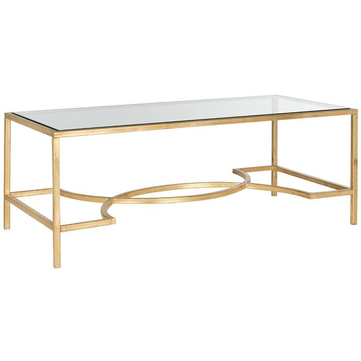 safavieh inga gold glass coffee table