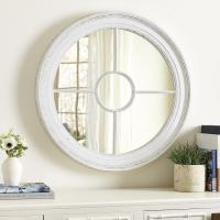 Marin Round White Wood Wall Mirror