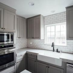 Kitchen Faucet With Side Sprayer Curtains Pinterest Half Tiled Marble Chevron Backsplash - Transitional