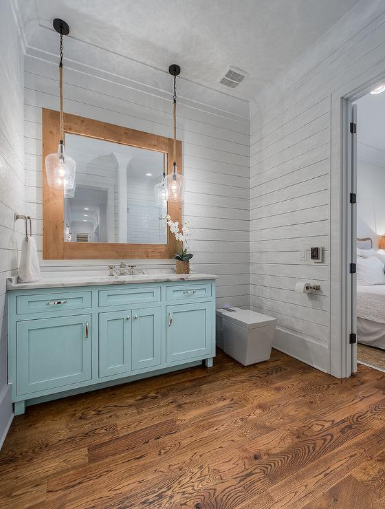 Turquoise Blue Bath Vanity With Rope And Glass Light Pendants Cottage Bathroom
