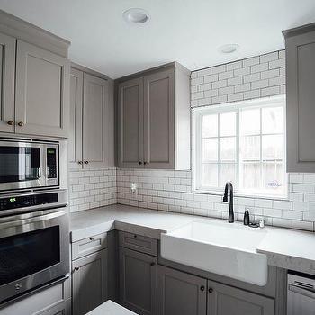 grey kitchen countertops cabinet spray paint noble gray quartz design ideas
