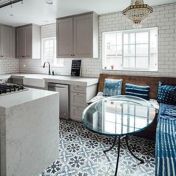White and Blue Mosaic Moroccan Tiles  Transitional  Kitchen
