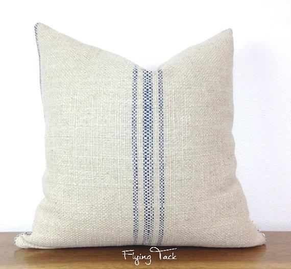 french laundry grain sack blue striped