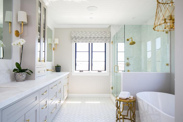 Gray Master Bath With Gold Accents Transitional Bathroom