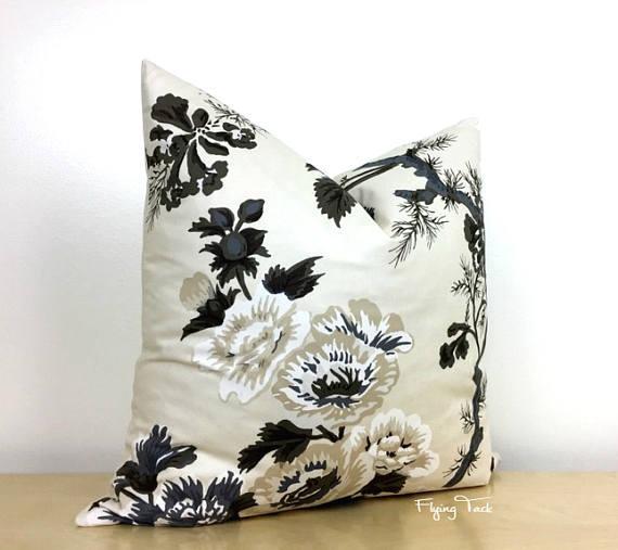 pyne hollyhock black ivory floral