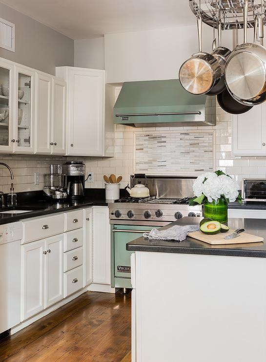 kitchen window treatments above sink electrolux appliances mint green viking stove with mosaic tiles - transitional ...