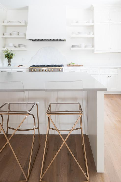 island tables for kitchen rustic hickory cabinets gold metal and acrylic counter stools design ideas
