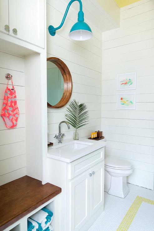 Blue Enamel Gooseneck Sconce In Pool House Bathroom