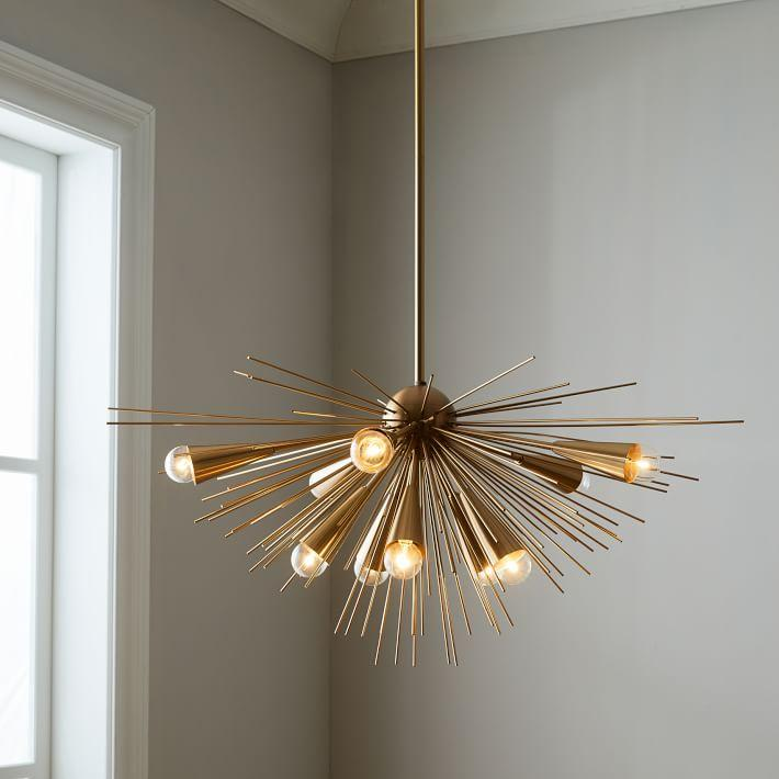 Sputnik Gold Iron Sunburst Chandelier