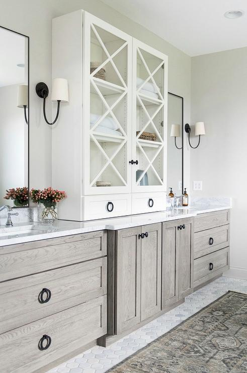 Gray Oak Bath Vanity Cabinets and Drawers  Transitional  Bathroom