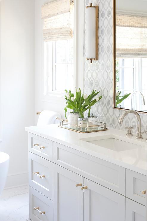white and gray teardrop tiles design ideas