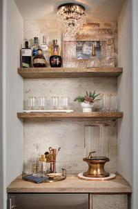 Rustic White Brick Bar Backsplash - Cottage - Kitchen