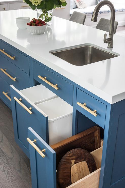 kitchen prep station cabinets houston area custom under counter paper towel holder - transitional ...