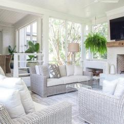 Sunroom Living Room Color Walls Sunken Space With Wicker Sofas Transitional