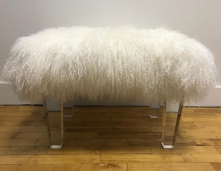 Massoud Centaur Champagne Sheepskin Bench