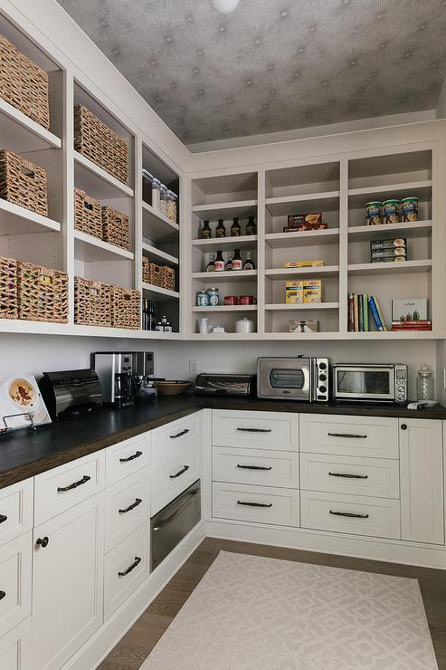 L Shaped Kitchen Pantry With L Shaped Floating Wood