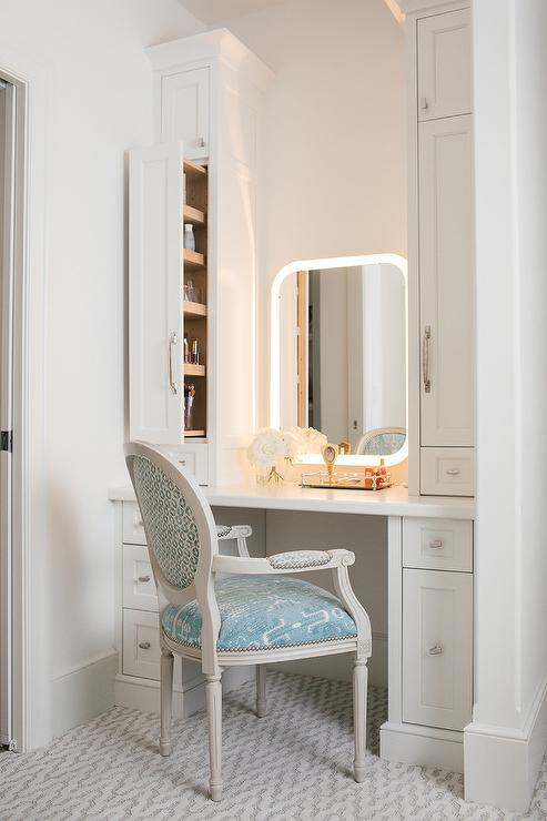 Blue Ikat French Makeup Vanity Chair  Transitional