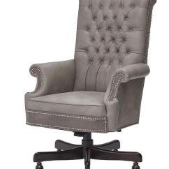 Tufted Desk Chair Aluminum Folding Yard Massoud Healey Gray Leather