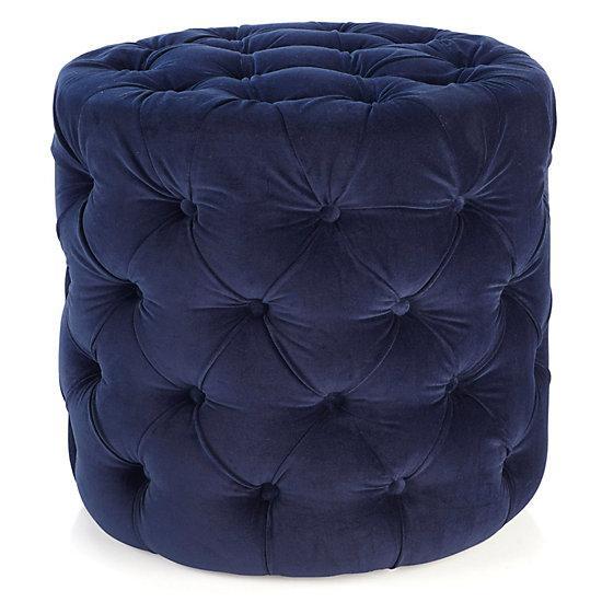 Button Tufted Navy Blue Velvet Cube Ottoman