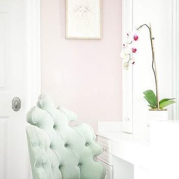 pink vanity chair cover rental barrie design ideas celadon green velvet tufted