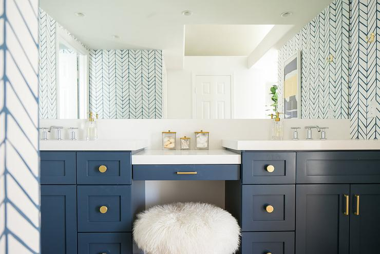 Spa Blue Bathroom With Gold Accents Transitional Bathroom