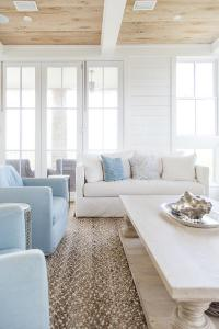 LIght Wood Balustrade Coffee Table with Powder Blue Chairs ...