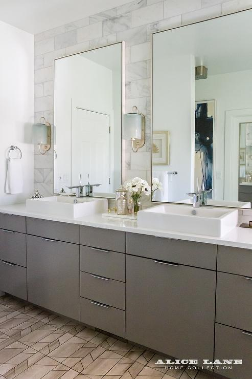 Taupe Glass tiles  Contemporary  bathroom  Mark