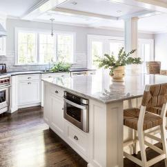 White Kitchen Island With Stools Best New Gadgets Large Center Microwave Drawer - Transitional ...