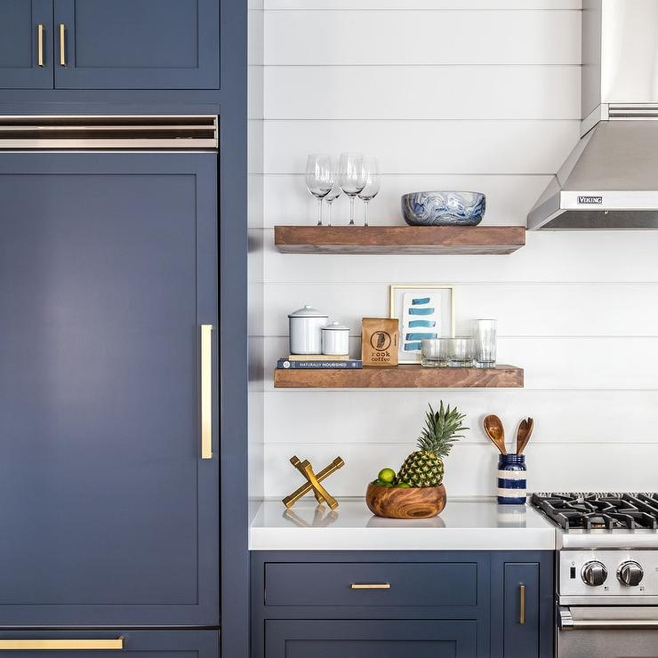 Navy Shaker Kitchen Cabinets with Brushed Brass Pulls