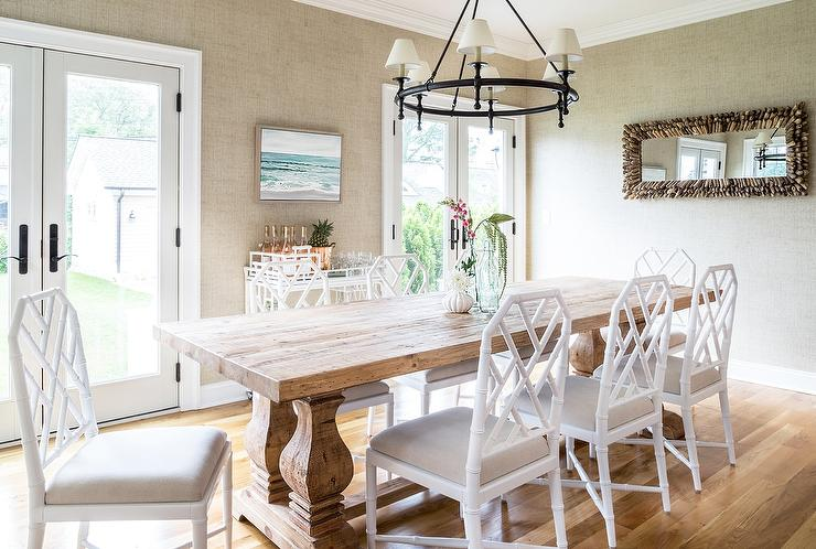 bamboo dining chair rocking adirondack plans wood trestle table with white chairs transitional